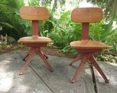Vintage School Chair Child Chair Wood Metal Set of 2