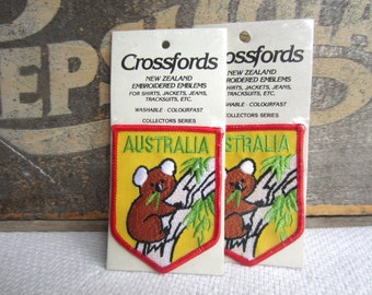 Vintage Australia Koala Bear Iron On Patch Embroidered Emblem Crossfords