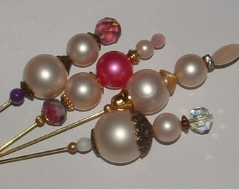"""PEARL MANIA HATPINS- creamy white- 50s beads all vintage- my own designs 8"""" pins 4 pack"""