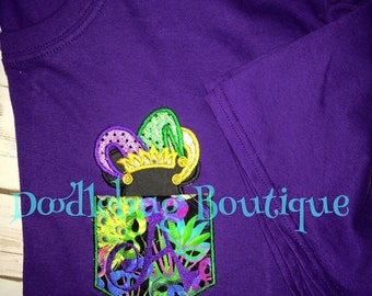 Mardi Gras Mickey Mouse jester pocket tee with initial