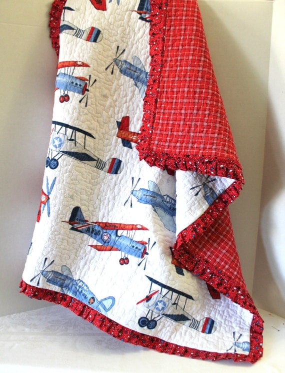 Plaid Baby Quilt: Baby Quilt Red White Blue Airplanes With Plaid Backing And