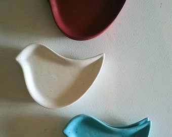 Little Birdy Ring Dish or Tea Bag Holder Red White or Blue