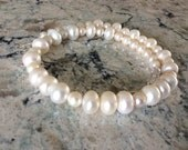 FREE SHIPPING White Freshwater Pearl  Swarovski Crystal Wedding Necklace