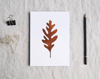 Oak leaf botanical print in metallic copper foil leaf botany shiny limited edition 'Botanique Electrique' collection