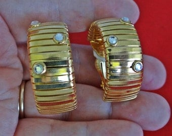 "Vintage gold tone clip 1.5""  hoop earrings with rhinestone accents  in great condition"