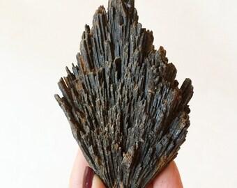 XL Black Kyanite Crystal, Mineral Specimen, Grounding Gemstone, Reiki New Age Healing, Root Chakra, Base
