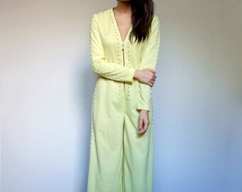 Vintage Yellow Jumpsuit 70s Gold Studded Long Sleeve Wide Leg Playsuit - Medium to Large M L