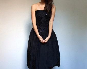 Gunne Sax Dress Black Strapless 80s Sequin Embroidered Velvet Party Dress Women Back Bow Jessica McClintock Prom Dress - Extra Small XXS XS