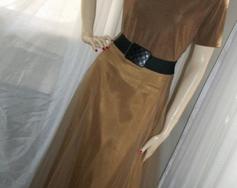 Vintage Bronze 40s 50s Style Full Tulle Skirt and Matching Jersey Top Size Med Gorgeous Holiday! One of a Kind