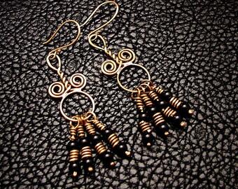 Onyx Brass Earrings, Ancient jewelry,  Brass jewelry, greek earrings, roman earrings,  Ancient Inspired, dangle earrings, drop earrings
