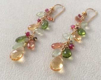 Sparkling Semiprecious Gemstone Earrings in Gold Vermeil and Citrine, Peridot, Prehnite, Mystic Topaz, Rare Red Spinel and Tunduru Sapphire