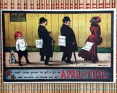 Louis Wain Postcard:  April Fools!