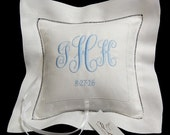 Ring Bearer Pillow Irish Linen with Monogram, Personalized Ring Pillow, Style 6142