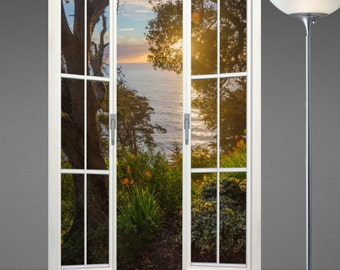 Wall mural french door, self adhesive, Big Sur Sunset 48x72- free US shipping