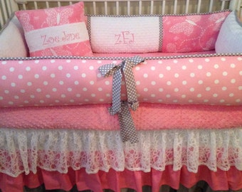 Baby bedding  Crib set pink gray ruffle lace butterfly DEPOSIT Down payment only