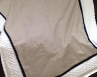 Baby blanket quilt Linen taupe navy ivory cream minky dot