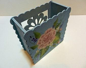 Hand Painted Rose Desk Organizer Box