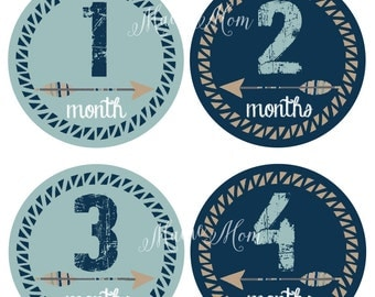 FREE GIFT, Tribal, Monthly Baby Boy Stickers, Baby Month Stickers Boy, Milestone, Mod, Wilderness, Arrow,  Nursery Decor, Navy Blue, Tan
