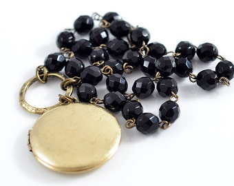Antique Gold Locket Necklace with Beaded Jet Black Czech Glass