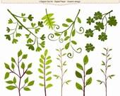 ON SALE Leafs clip art, Botanical clip art,country garden clip art,leaf clip art, INSTANT Download
