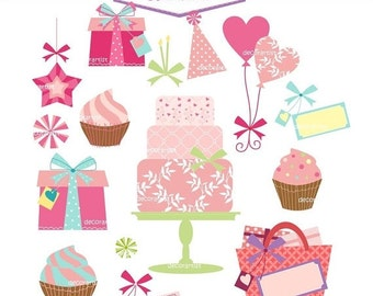 Birthday Clipart Birthday Clip Art  Pink Cake Clipart gift box clipart Birthday Present Birthday Balloon clipart INSTANT Download ON SALE