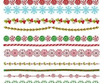 ON SALE Christmas Border clipart, border clip art, christmas banner clip art, border clip art,line digital clipart,instant download