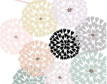 ON SALE Digital clip art flowers, heart firework flowers 5, INSTANT Download Clip art