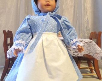 18 Inch Doll Clothes / Doll Dress / Doll Bonnet / Doll Apron / Doll Clothes / Doll Clothing / Fits American Girl Doll - 1006