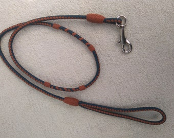 "Braided Kangaroo Leather Dog Show Lead - Royal Blue/Saddle Tan - 35"", 6Strand"