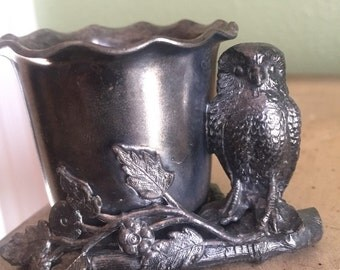 Victorian silverplate owl toothpick holder