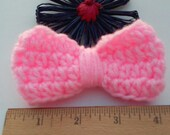 Pink Bow / Bows / Crochet Bow / Applique / Craft Bows / Yarn Bows / Craft Supply /