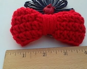 Red Bow / Bows / Crochet Bow / Applique / Craft Bows / Yarn Bows / Craft Supply /