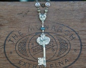 Solid Silver Eiffel Tower Paris Key Pendant Necklace With Swarovski Bezel Crystal Chain