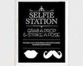 selfie station wedding sign - printable file - photo booth sign instagram grab a prop wedding signage instant download editable poster diy
