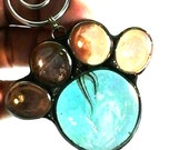 Pet Paw Print (#5) in Stained Glass with wire swirl Suncatcher or Ornament