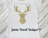 Girls Deer Shirt- Hunting Shirt- Toddler Reindeer Tshirt- Gold Glitter Deer Tshirt