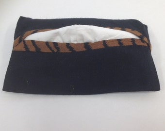 Pocket Tissue Cover, Travel Size, Black, Animal Print, Lined