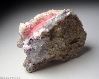 Unusual Pink Rhodochrosite w/ Blue and Purple Fluorite on Matrix // Heart & Third Eye Chakra // Crystal Healing // Mineral Specimen