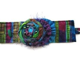 Handmade Fabric  Textile Cuff Houte Couture Fiber Art Accessories