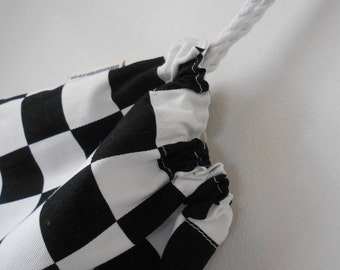 Small Black and White Checkered Flag Fabric Drawstring Bag, Toy Bag, Accessory Bag, Charger Bag, Cotton Bag, Handmade in Australia, Racing