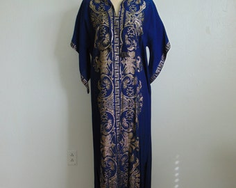 70s Indigo and metallic Gold CAFTAN  size medium
