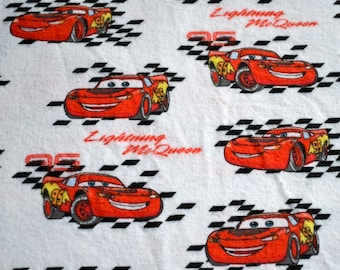 Novelty Fabric - Cars Lightning McQueen Flannel - 40 x 40  Out of Print Cotton