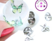 23% SALE Screw in Bead Caps with Peg for Pendants; Silver Color; 8 mm x 10 mm; Eye Pin