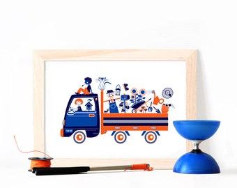 Poster ~ Friends and Garden on the Road ~ A3 Hand Printed ArtPrint ~Orange Blue poster nursery room child kid screenprint decoration truck