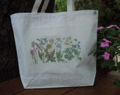 Natural cotton market tote   -   Wildflowers