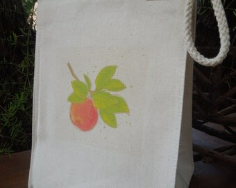 Recycled cotton lunch bag - Canvas lunch bag - Apple