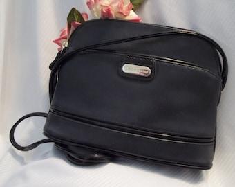 MINT Gorgeous Liz Claiborne Navy Blue Textured Faux Leather Shoulder Bag / Cross Body - Womens - Vintage - Accessory