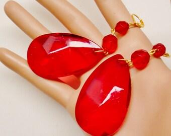 Vintage Lipstick Red Big Long Faceted Teardrop Faux Crystal Dangle Pierced Earrings Victorian Retro Art Deco 70's Jewelry Runway Statement