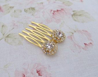 Mini Gold Floral Hair Comb,Rhinestone Wedding Hair Comb,Bridal Hair Accessories,Wedding Accessories,Decorative Hair Comb