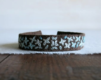 Teal Ombre On Brown Linen Embroidered Bracelet - Hand Embroidery Fiber Art Jewelry - Bohemian Style - Rustic Earthy Fabric Cuff by Sidereal